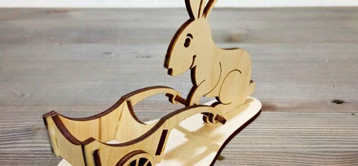 Подставка для пасхального яйца «Заяц с тележкой». Макет CDR для лазерной резки